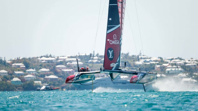 Emirates Team New Zealand sailing on Bermuda's Great Sound in the Louis Vuitton America's Cup Challenger Playoffs Semi-Finals Emirates Team New Zealand (NZL) vs. Land Rover BAR (GBR) Race 2   Copyright: Richard Hodder / Emirates Team New Zealand