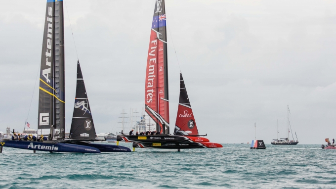 Emirates Team New Zealand sailing on Bermuda's Great Sound in the Louis Vuitton America's Cup Challenger Playoffs Finals Emirates Team New Zealand (NZL) vs. Artemis Racing (SWE) Race 3.   Copyright: Richard Hodder / Emirates Team New Zealand