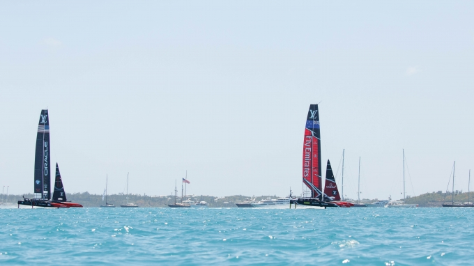 Louis Vuitton America's Cup Match Racing Day 2. Emirates Team New Zealand vs. Oracle Team USA races 3 & 4.   Copyright: Richard Hodder / Emirates Team New Zealand